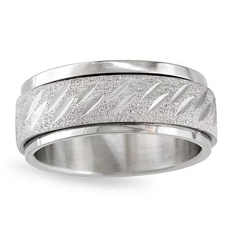 Miadora Stainless Steel Men's Spinner Ring