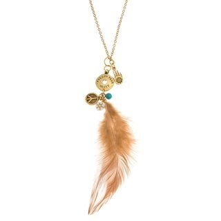 Charming Life Goldtone Turquoise 'My Mystic Charms' Feather Necklace