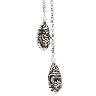 Charming Life Silver 'Two Drops of Elegancy' Lariat Long Necklace