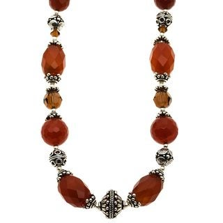 Lola's Jewelry Silver Carnelian and Crystal 'Sun of Fall' Necklace