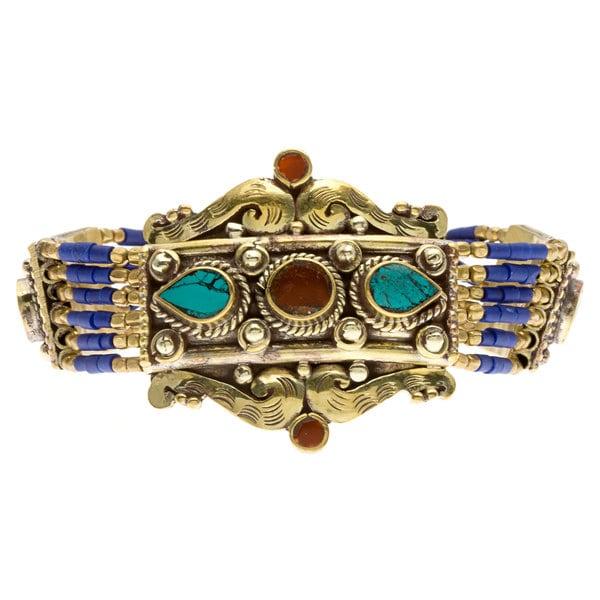 Lola's Jewelry 'Tibetan Embellishment' Blue Lapis and Turquoise Toggle Bracelet