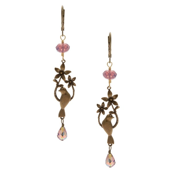 CHARMING LIFE Bronze 'Victorian Reminiscent Bird' Lavender Crystal Earrings