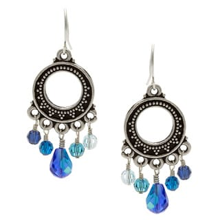 Charming Life Silver 'Crazy About Blue' Crystal Chandelier Earrings
