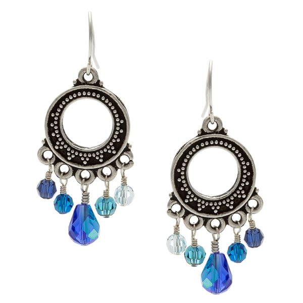 Lola's Jewelry Silver 'Crazy About Blue' Crystal Chandelier Earrings