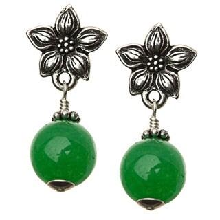 Charming Life Silver 'Green Jasmine' Quartz Post Earrings
