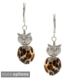 Charming Life Gold 'Meow' Leopard Glass Earrings