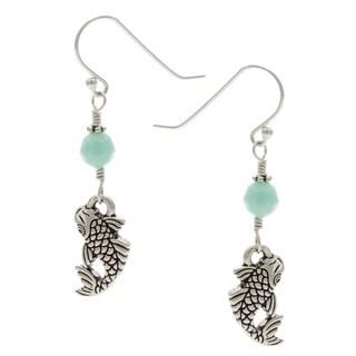 Lola's Jewelry Sterling Silver 'Lucky Koi' Mint Crystal Hook Earrings