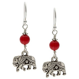 Lola's Jewelry Sterling Silver 'My Good Fortune Elephant' Red Coral Hook Earrings