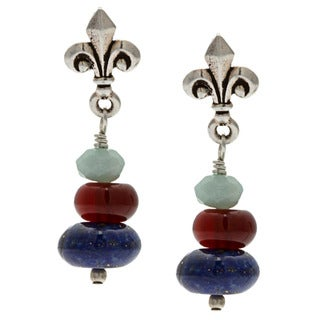 Lola's Jewelry Silver 'My Favorite Gemstones' Lapis Post Earrings