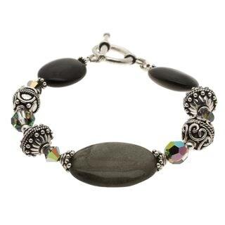 Lola's Jewelry Silver Golden Sheen Obsidian Bracelet