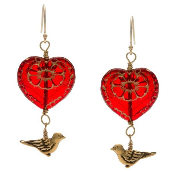 Lola's Jewelry 14k Goldfill 'My Heart Flies To Yours' Hook Earrings