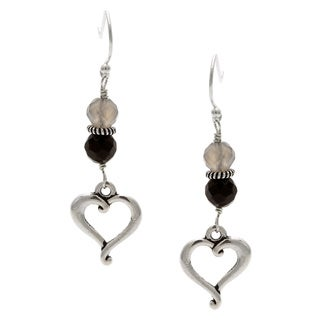Lola's Jewelry Sterling Silver 'Black Heart' Black Onyx Hook Earrings
