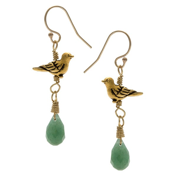 Lola's Jewelry 14k Goldfill 'Summer's Bird' Green Aventurine Hook Earrings