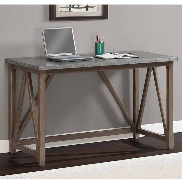 zinc top bridge desk free shipping today 15475162. Black Bedroom Furniture Sets. Home Design Ideas