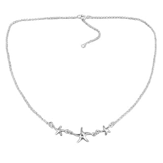 Handmade Sterling Silver Three Lucky Charm Starfish Necklace (Thailand)
