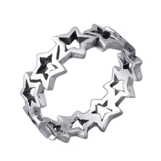 Silver Cut-out Stars Link Band Ring (Thailand)