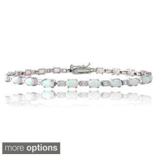 Glitzy Rocks Sterling Silver Opal and Cubic Zirconia Tennis Bracelet