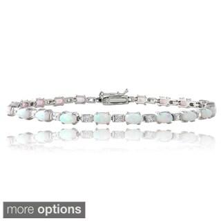 Glitzy Rocks Sterling Silver Opal and Cubic Zirconia Tennis Bracelet