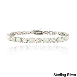 Glitzy Rocks Silver Created Opal and Cubic Zirconia Oval Tennis Bracelet