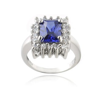 Glitzy Rocks Sterling Silver Blue Cubic Zirconia Emerald-Cut Ring