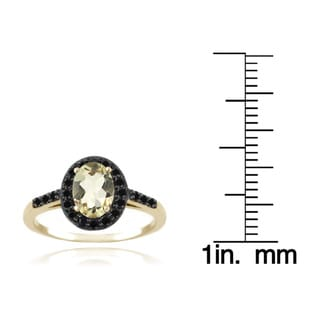Glitzy Rocks Sterling Silver or 18k Gold-overlay Oval-cut Gemstone and Black Spinel Ring
