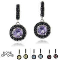Glitzy Rocks Sterling Silver or 18k Gold Overlay Gemstone And Black Spinel Earrings