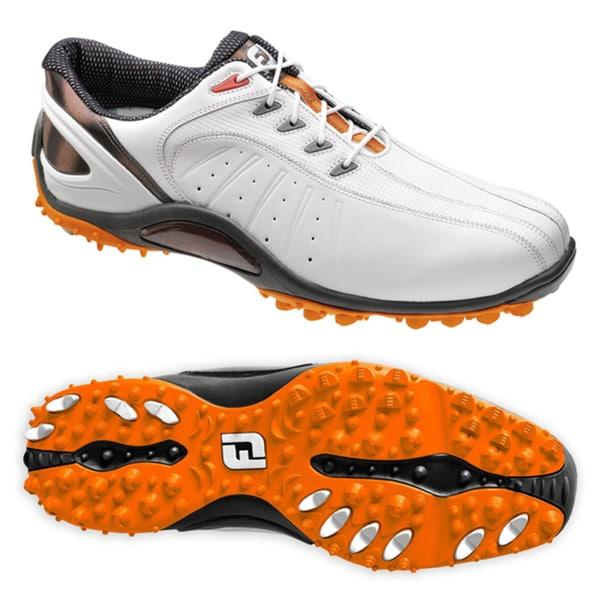 FootJoy Men's FJ Sport Spikeless White/ Orange Golf Shoes