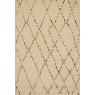 Handcrafted Lennon White Sand Wool Rug (5'0 x 7'6)