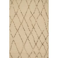 Handcrafted Lennon White Sand Wool Rug - 5'0 x 7'6