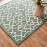 Hand-tufted Contemporary Light Blue Trellis Wool Rug - 9'3 x 13'