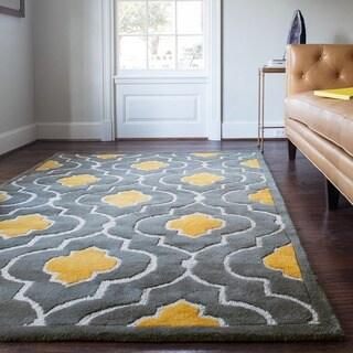 Hand-tufted Logan Grey/ Gold Wool Rug (9'3 x 13')