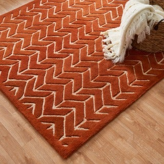 Hand-tufted Logan Tangerine Wool Rug (5'0 x 7'6)