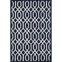 Hand-tufted Logan Navy Wool Rug - 3'6 x 5'6
