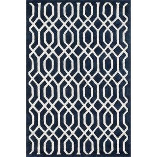 Hand-tufted Logan Navy Wool Rug (5'0 x 7'6)