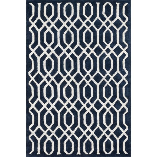 Hand-tufted Logan Navy Wool Rug (7'10 x 11'0)