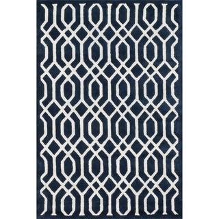 Hand-tufted Logan Navy Wool Rug (7'10 x 11'0)