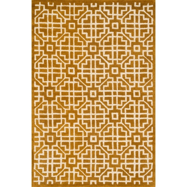 Hand-tufted Logan Gold Wool Rug - 7'10 x 11'