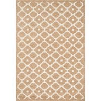 Hand-tufted Contemporary Beige Trellis Wool Rug - 9'3 x 13'