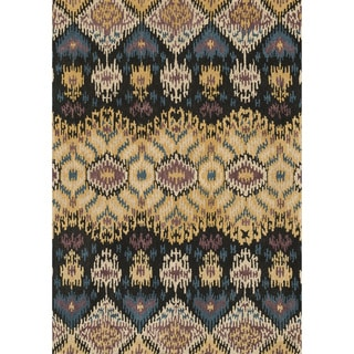 Hand-tufted Arianna Black/ Light Gold Wool Rug (3'6 x 5'6)