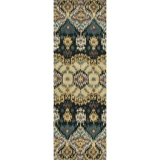 Hand-tufted Arianna Black/ Light Gold Wool Rug (2'6 x 7'6)