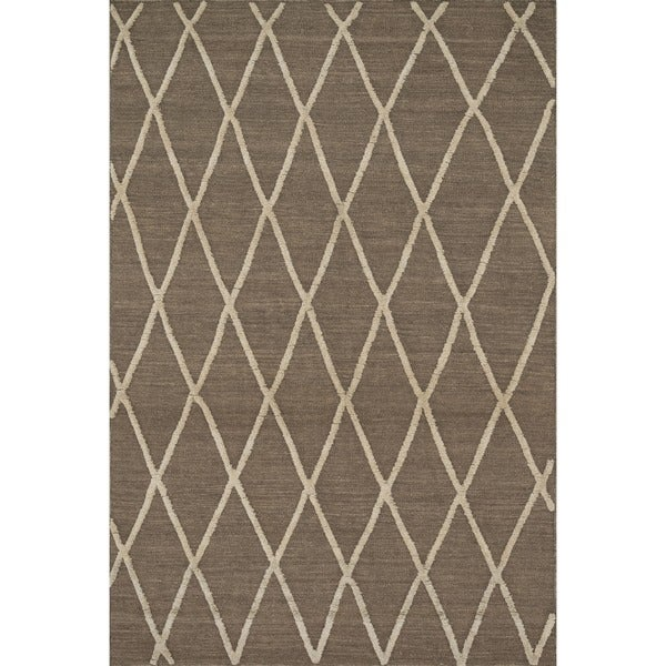 """Handcrafted Lennon Taupe Wool Rug - 5' x 7'6"""""""