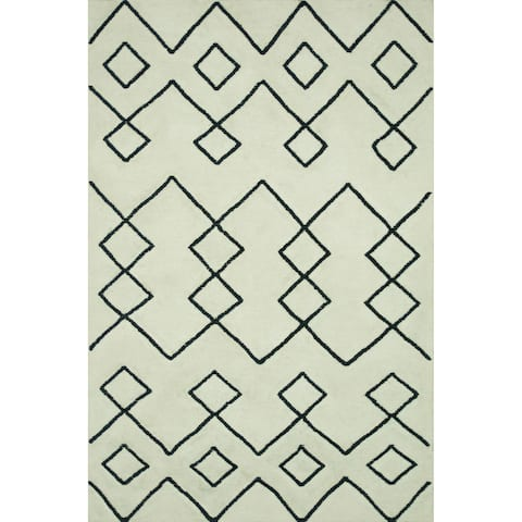 """Handcrafted Lennon Ivory Wool Rug - 9'3"""" x 13'"""