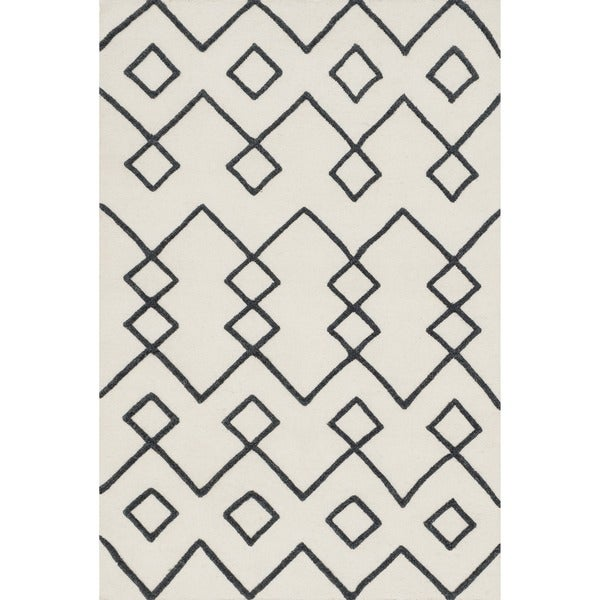 Handcrafted Lennon Ivory Wool Rug - 7'9 x 9'9