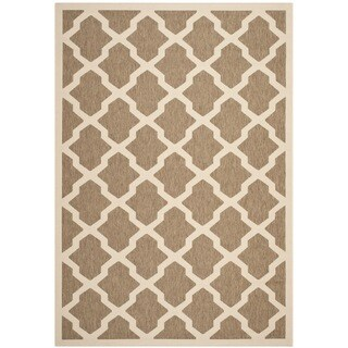 Safavieh Courtyard Moroccan Trellis Brown/ Bone Indoor/ Outdoor Rug (6'7 x 9'6)