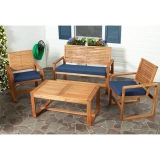 Safavieh Outdoor Living Ozark Brown/ Navy Acacia Wood 4 Piece Patio Set