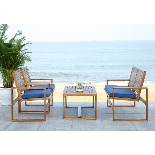 Attirant Safavieh Outdoor Living Ozark Brown/ Navy Acacia Wood 4 Piece Patio Set