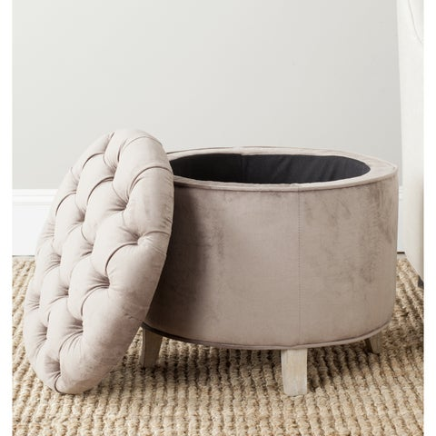 Safavieh Amelia Mushroom Taupe Cotton Tufted Storage Ottoman