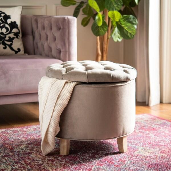 Safavieh Amelia Mushroom Taupe Cotton Tufted Storage Ottoman