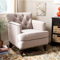 Safavieh Colin Taupe Linen Tufted Club Chair