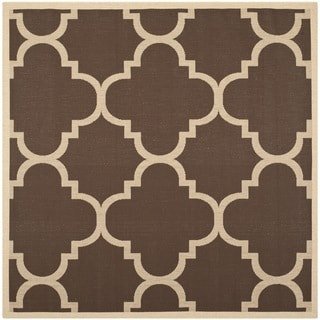 Safavieh Courtyard Quatrefoil Dark Brown Indoor/ Outdoor Rug (6u00277 Square)